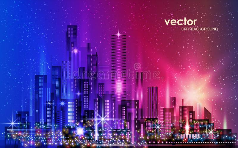 ландшафт урбанский Город с снегом иллюстрация с архитектурой, небоскребы, megapolis, здания к центру города бесплатная иллюстрация