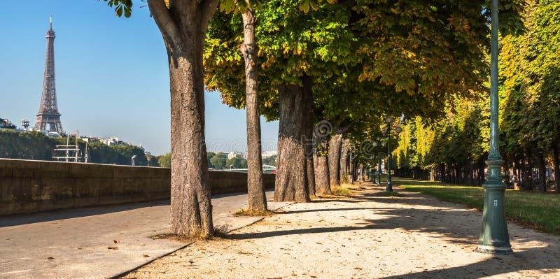Ландшафт утра Эйфелевой башни от вершины обваловки Парижа Сены стоковые изображения