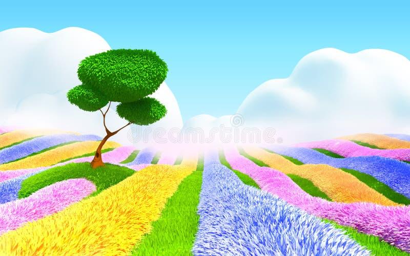 Ландшафт фантазии флористический иллюстрация вектора