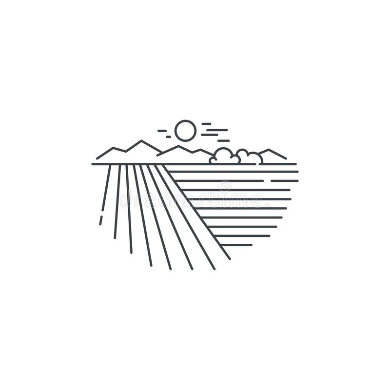 Ландшафт фермы, значок силовой линии поля Конспектируйте иллюстрацию дизайна вектора пшеничного поля линейного изолированную на б бесплатная иллюстрация