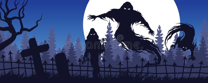 Ландшафт хеллоуина с призрачной диаграммой и кладбищем b бесплатная иллюстрация