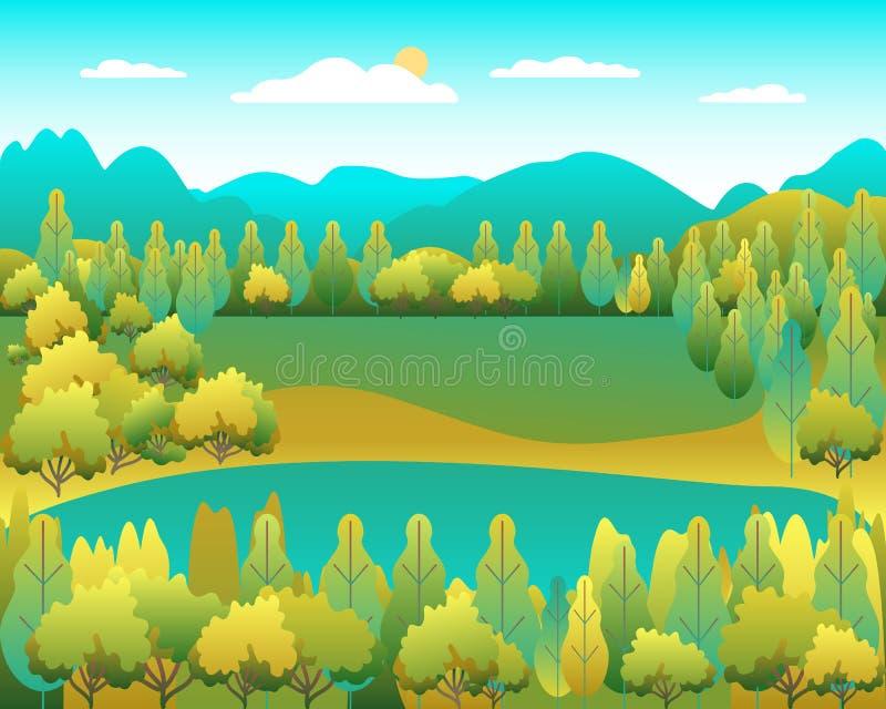 Ландшафт холмов в плоском дизайне стиля Долина с предпосылкой озера Красивые зеленые поля, луг, горы и голубое небо сельско бесплатная иллюстрация