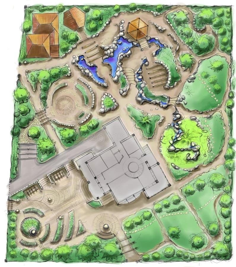 ландшафт чертежа архитектора стоковое фото rf