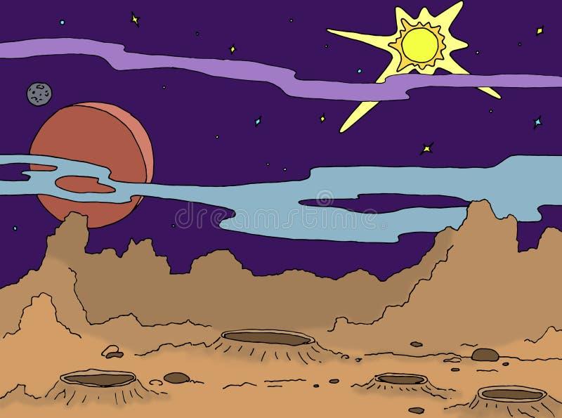 Ландшафт чертежа плана планеты с кратерами и утесами Звезды галактики, большая планета и спутник в предпосылке иллюстрация вектора
