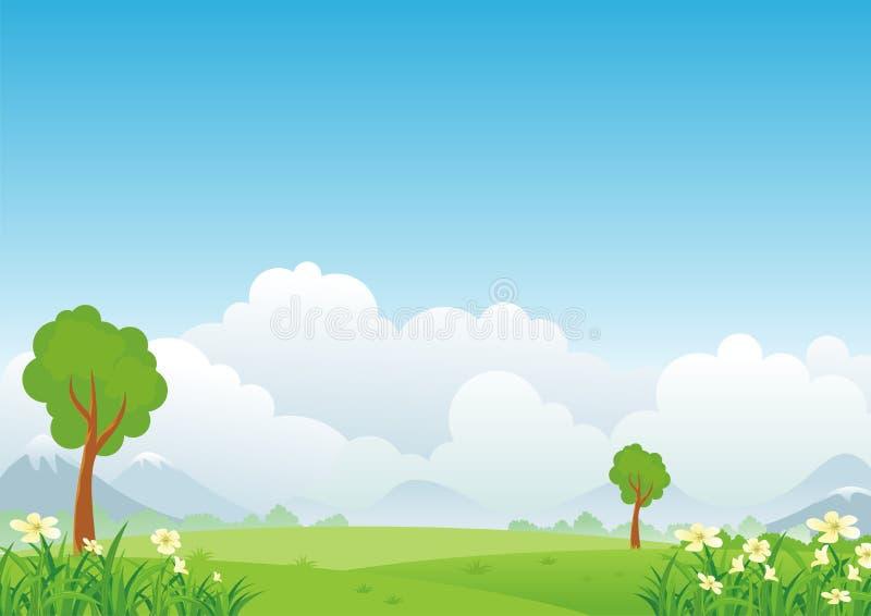 Ландшафт шаржа, с симпатичным и милым дизайном пейзажа иллюстрация вектора