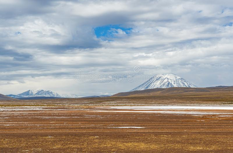 Ландшафт Altiplano и вулкан Misti, Перу стоковые фото