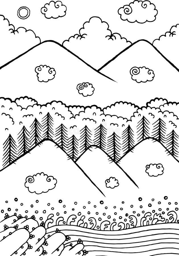Ландшафт Doodle с горами и деревьями заволакивает солнце неба также вектор иллюстрации притяжки corel бесплатная иллюстрация