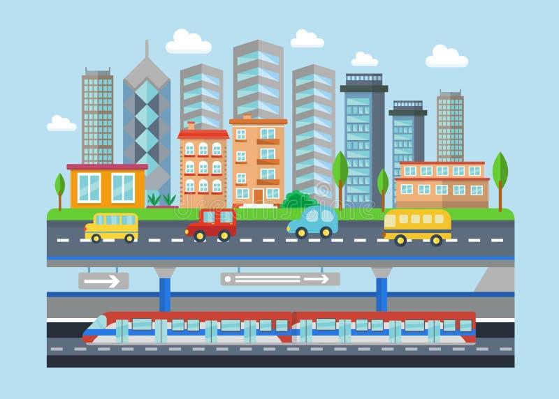 Ландшафта города вектора иллюстрация концепции городского современного плоская Умные метро, автомобили, здания и небоскребы город иллюстрация штока