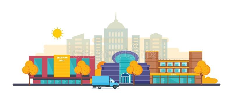 Ландшафты города осени установили с торговым центром зданий, кино, школой бесплатная иллюстрация