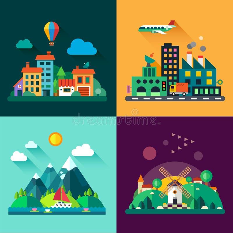 Ландшафты городского и деревни бесплатная иллюстрация