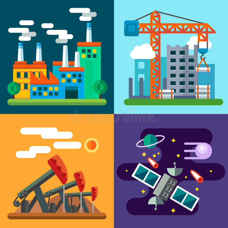 Ландшафты и новая технология индустрии иллюстрация штока