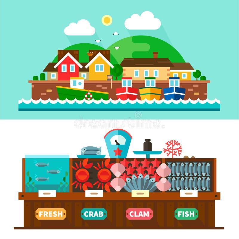 Ландшафты морского порта и рынок морепродуктов бесплатная иллюстрация