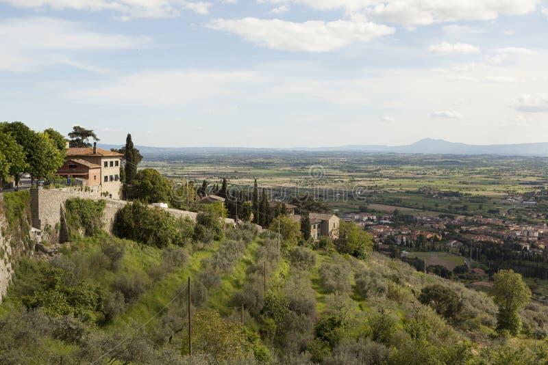 Ландшафты Тосканы Cortona (Cortona) Италия стоковые изображения rf