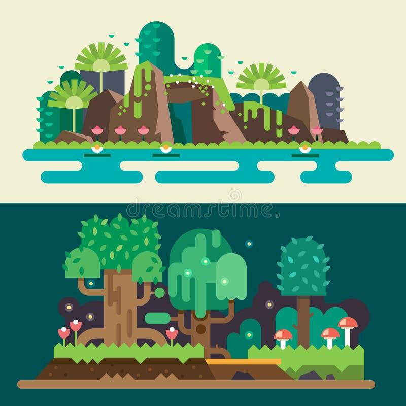 Ландшафты тропических и леса иллюстрация вектора