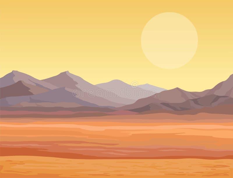 Ландшафт анимации пустыни иллюстрация штока