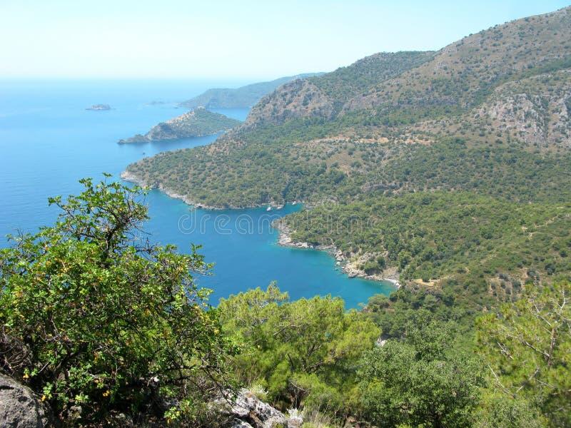 Ландшафт береговой линии индюка Средиземного моря стоковое фото rf