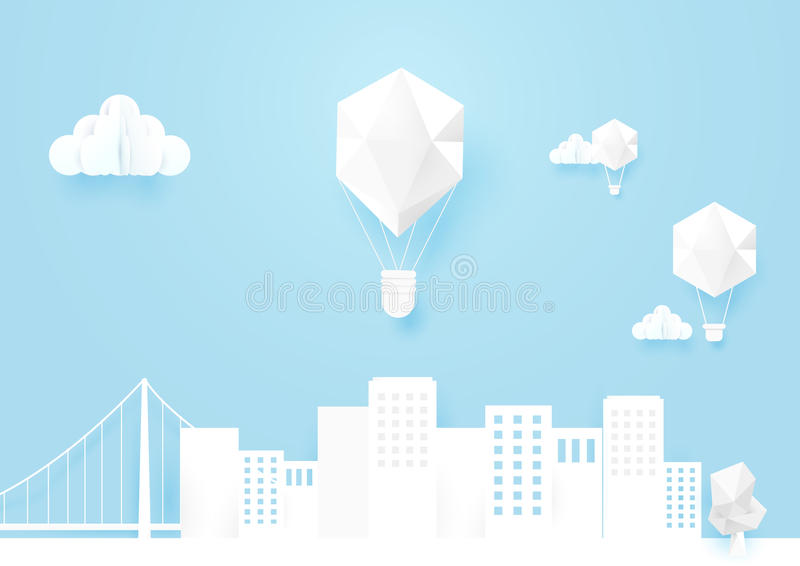 Ландшафт белого mocup городской и горячий летать воздушных шаров иллюстрация вектора