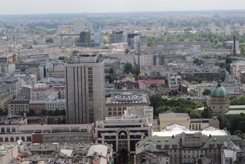 Ландшафт Варшавы от балкона дворца культуры стоковая фотография rf