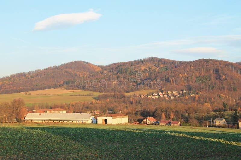 Ландшафт вокруг деревни Hukvaldy стоковая фотография rf