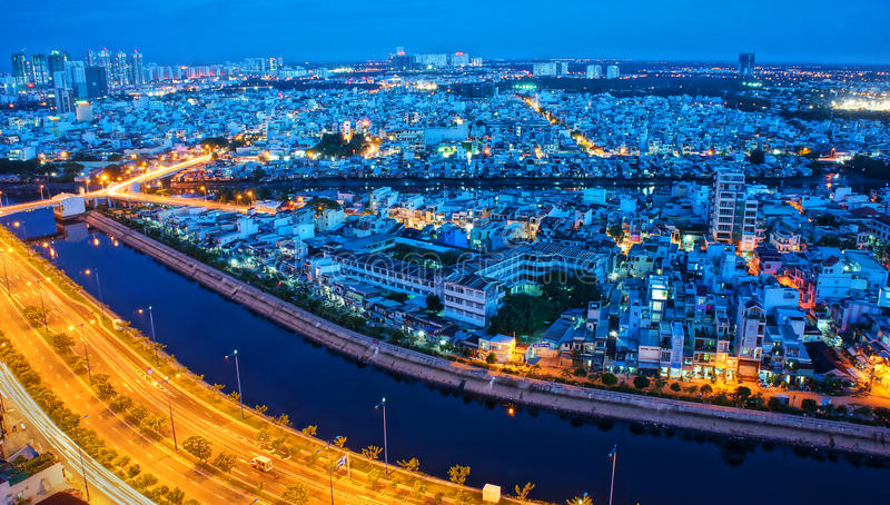 Ландшафт впечатления города Азии стоковые фотографии rf