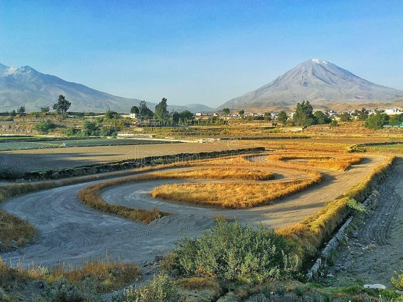 Ландшафт вулкана стоковые фотографии rf