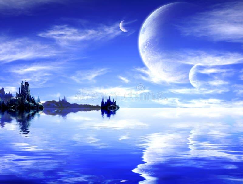 Ландшафт в планете фантазии иллюстрация штока