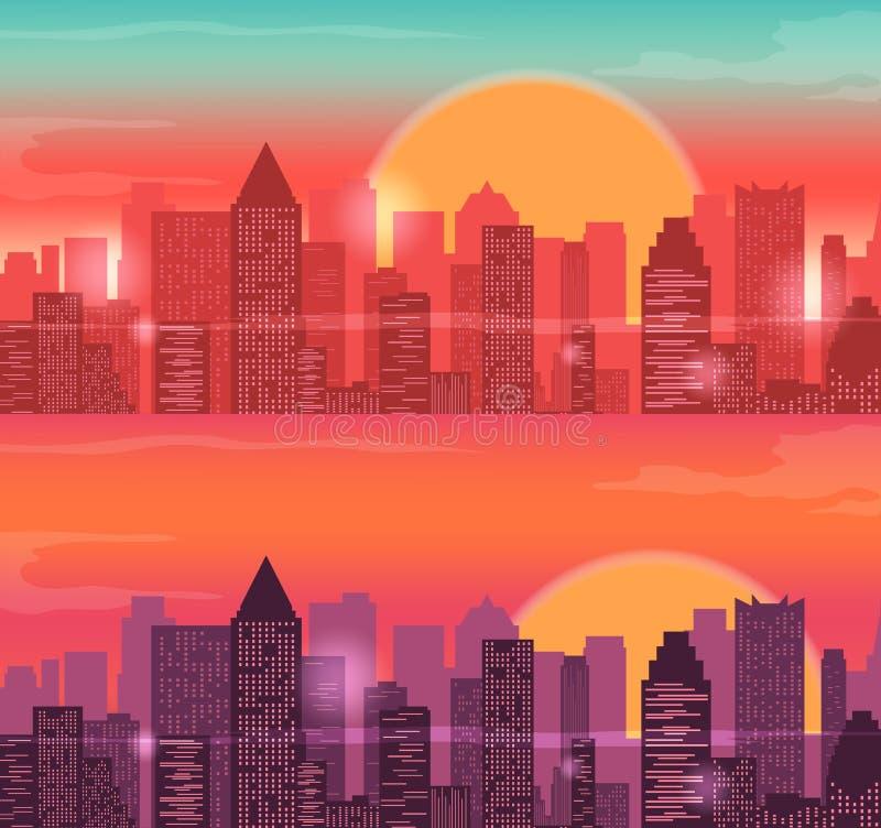 Ландшафт горизонтов города городской Восход солнца и заход солнца вектор иллюстрация вектора