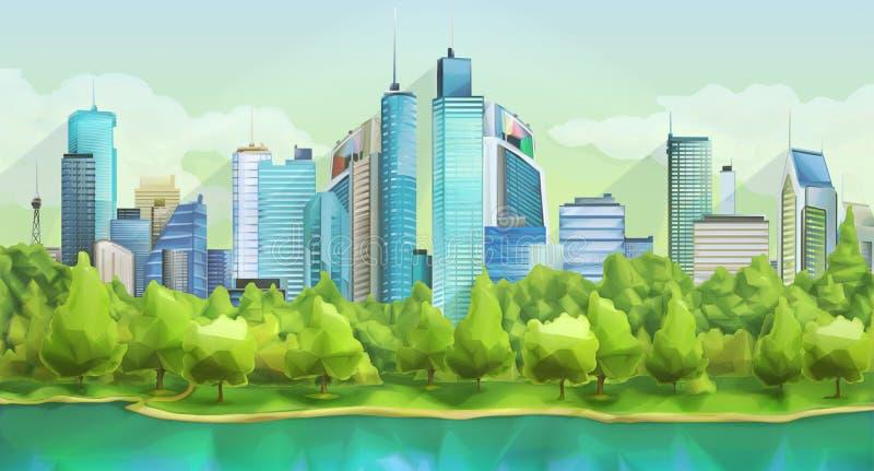 Ландшафт города и природы бесплатная иллюстрация