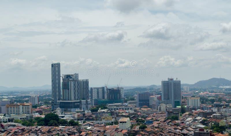 Ландшафт города Малаккы, принятый сверху стоковая фотография rf