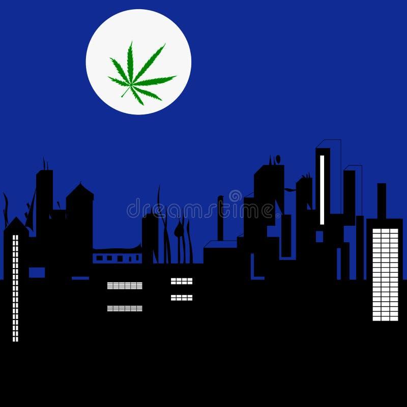 Ландшафт города ночи и луна с пастбищем марихуаны иллюстрация штока
