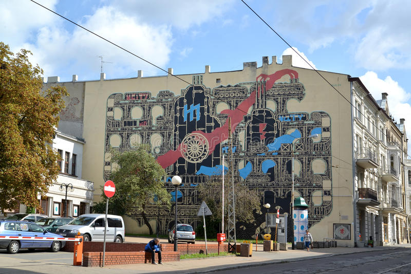 Ландшафт города от граффити на старом здании Польша, Лодз стоковое изображение