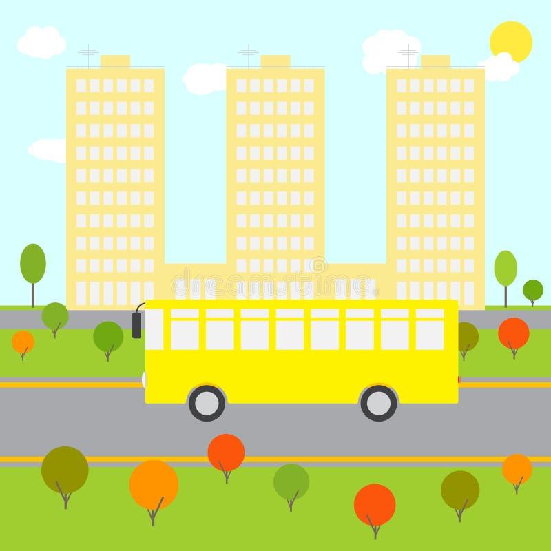 Ландшафт города с желтой шиной бесплатная иллюстрация