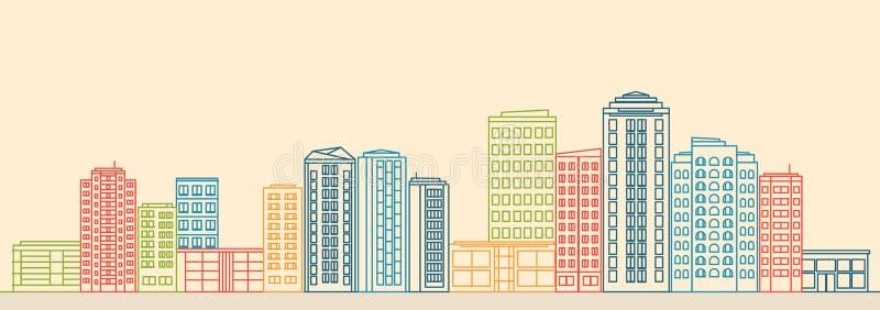 Ландшафт города с зданиями и магазинами в линии стиле иллюстрация вектора