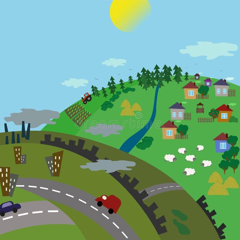 Ландшафт городского и деревни Дорога от города к сельской местности Иллюстрация вектора плоская иллюстрация штока
