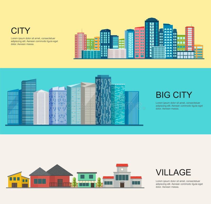 Ландшафт городского и деревни иллюстрация штока