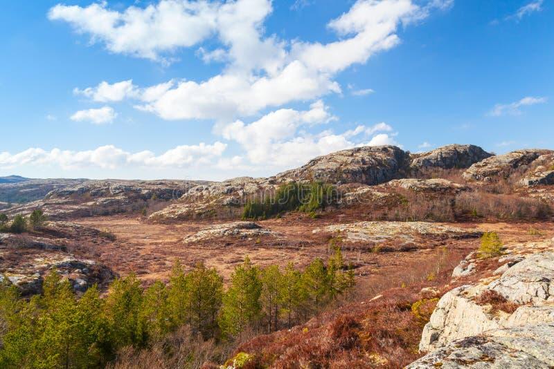 Ландшафт горы весны норвежский с облачным небом стоковая фотография rf