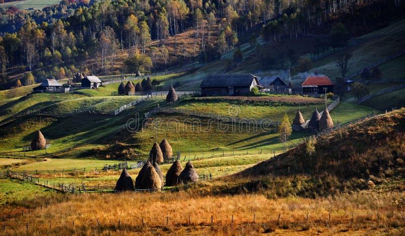 Ландшафт горы в утре осени стоковые изображения
