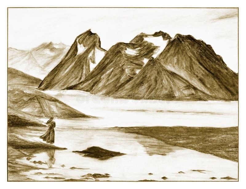 Ландшафт - горы и море бесплатная иллюстрация