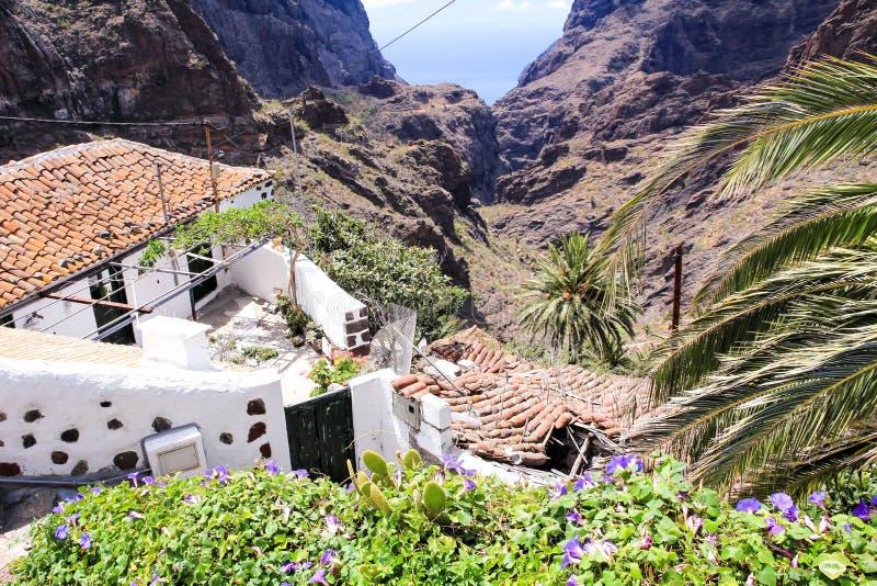 Ландшафт горы на тропическом острове Тенерифе, канерейке в Испании Взгляд ущелья trekking от долины Masca Небольшой дом внутри стоковые изображения