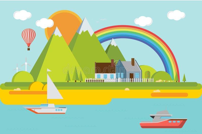 Ландшафт горы с морем также вектор иллюстрации притяжки corel бесплатная иллюстрация