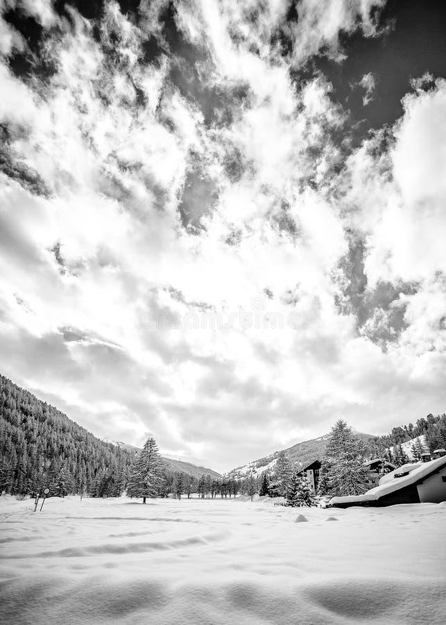 Ландшафт горы с серией снега стоковое фото