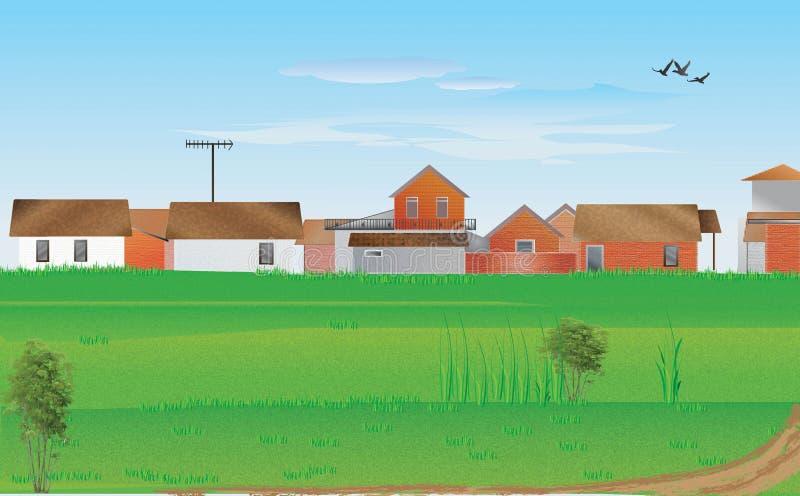 Ландшафт деревни стоковые изображения rf