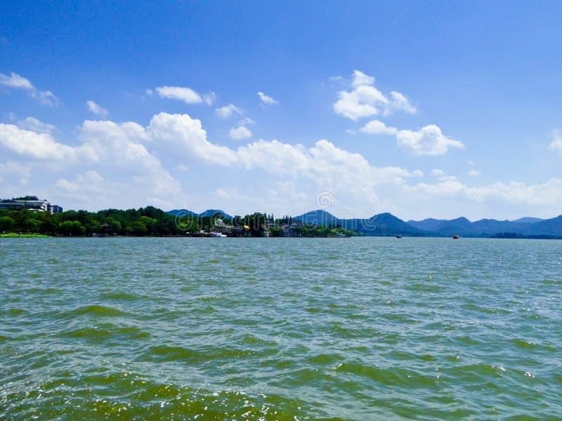 Ландшафт западного озера культурный Ханчжоу стоковое изображение