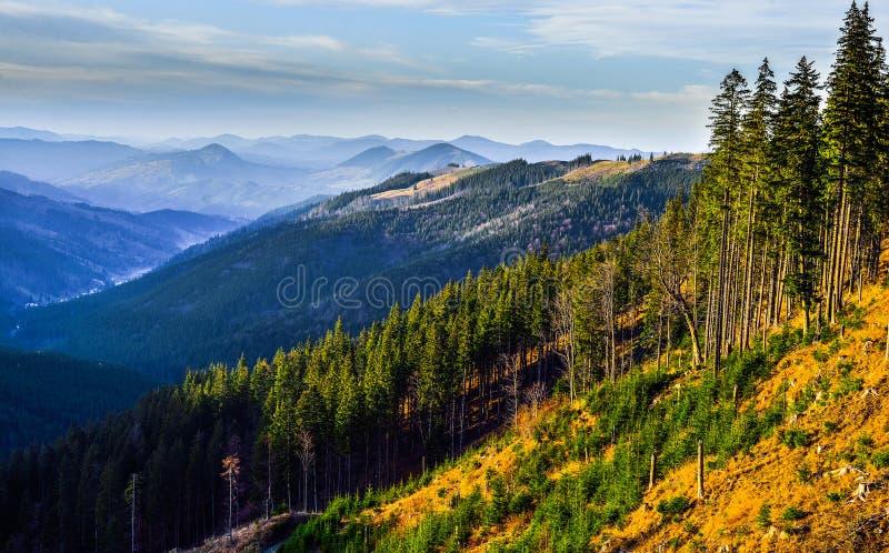 Ландшафт захода солнца горы Raraul стоковая фотография rf
