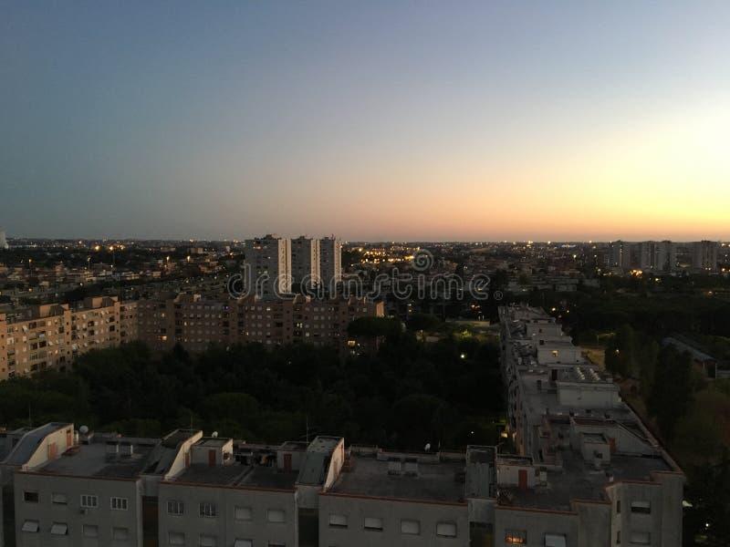 Ландшафт захода солнца Рима стоковая фотография