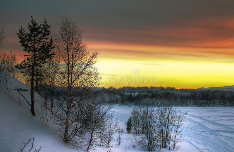 Ландшафт захода солнца стоковые фото