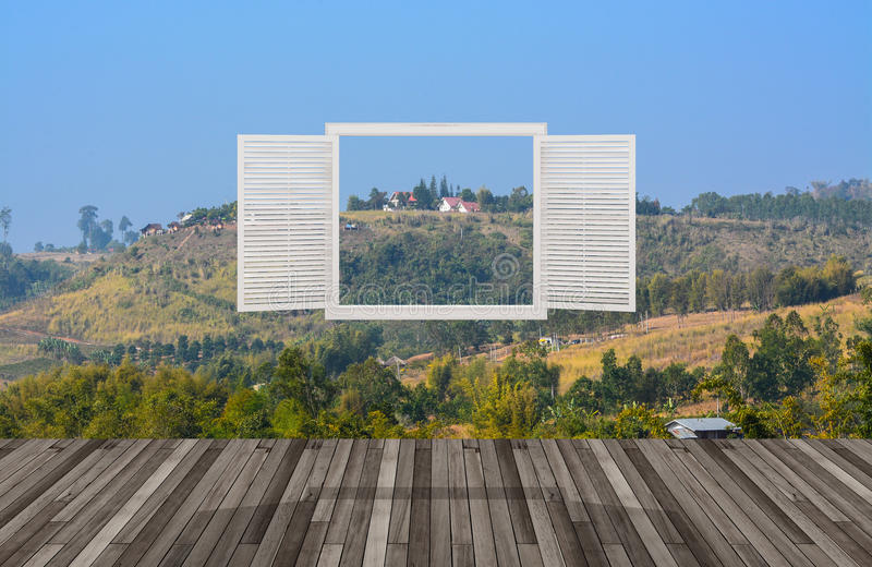 Ландшафт за окном отверстия бесплатная иллюстрация