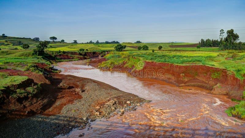 Ландшафт земледелия с голубым Нилом, Эфиопией стоковые фотографии rf