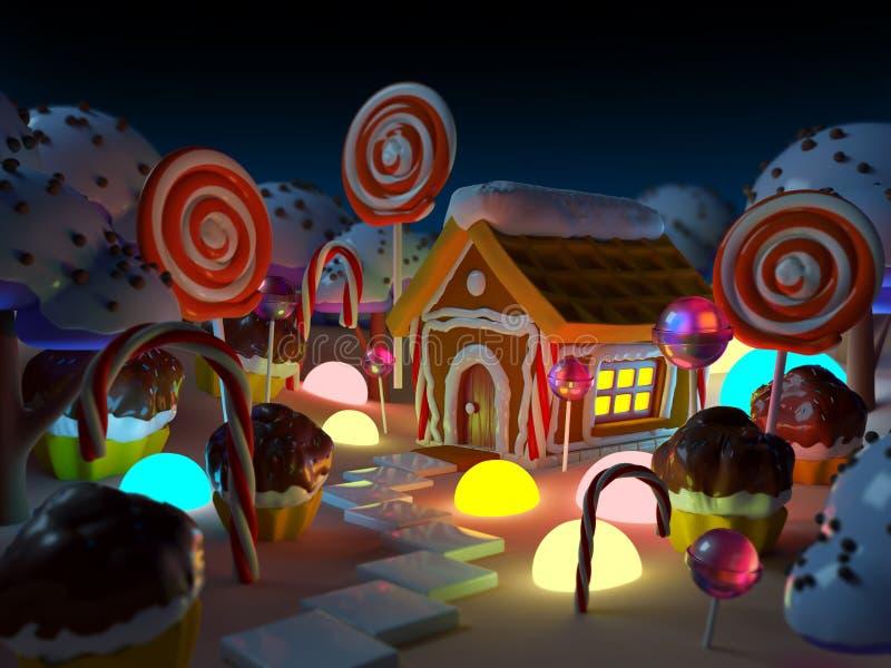 Ландшафт земли конфеты на ноче иллюстрация вектора
