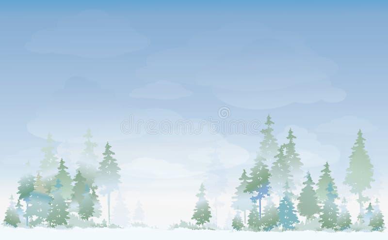 Ландшафт зимы вектора иллюстрация вектора